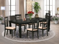 Lgni7-Blk-C 7 Pc Dining Room Set With A Table & 6 Linen Chairs In Black - 1
