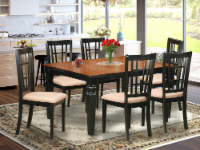East West Furniture Weston 7-piece Dining Set with Linen Seat in Black/Cherry - 1