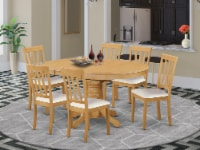 AVAT7-OAK-LC 7 Pc Dinette Table with Leaf and 6 Faux Leather Seat Chairs in Oak. - 1