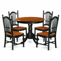 East West Furniture Antique 5-piece Dining Set with Wood Seat in Black/Cherry - 1