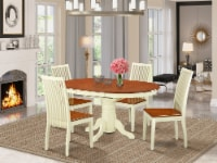 AVIP5-WHI-W 5 Pc Dining set with a table & 4 Chairs in Buttermilk & Cherry - 1