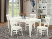 CAGR5-LWH-W 5Pc Rectangle 60 Inch Dining Table And 4 Wood Seat Kitchen Chairs - 1