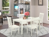 5 Piece dining table set- Solid Top Table and 4 wood Seat dining chairs - 1
