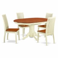 East West Furniture Kenley 5-piece Wood Dining Table Set in Buttermilk/Cherry - 1