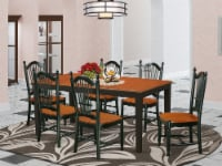NIDO7-BCH-W 7 PC dinette set - Table and 6 dining chairs In Black and Cherry - 1