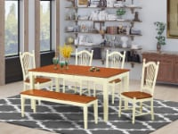 NIDO6-WHI-W 6 Pc Kitchen nook Dining set - Dinette Table & 4 Chairsplus Bench - 1