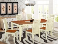 QUIP7-WHI-W 7 Pc set with table & 6 Wood Dinette Chairs in Buttermilk & Cherry - 1