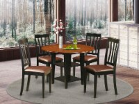5 Piece Sudbury Set With One Round Table & four Dinette Chairs,Black & Cherry. - 1