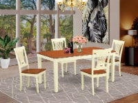 NIPL5-WHI-W 5 PC Dining room set - Kitchen Table and 4 Dining Chairs - 1