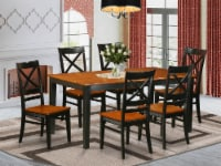 East West Furniture Nicoli 7-piece Kitchen Table and Chairs in Black/Cherry - 1