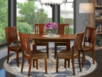 NODU7-MAH-LC 7 Pc Kitchen Tables set - Table with Leaf and 6 Dining Chairs - 1