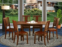 Nodu7-Mah-W 7 Pc Kitchen Dining Tables Set - Table With Leaf And 6 Dining Chairs - 1
