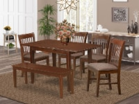 East West Furniture Norfolk 6-piece Wood Dining Room Set in Mahogany - 1