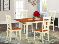 NONI5-WHI-W 5 PcTable and Chairs set for 4-Dinette Table and 4 Dining Chairs - 1