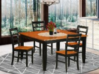 PARF5-BLK-W 5 Pc Dining set-Square Dining Table with Leaf and 4 Dining Chairs - 1
