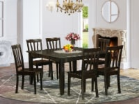 East West Furniture Parfait 7-piece Dining Set with Wood Seat in Cappuccino - 1