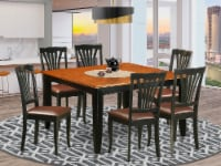 East West Furniture Parfait 7-piece Dining Set w/ Leather Chairs in Black/Cherry - 1