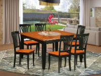 East West Furniture Parfait 7-piece Dining Table and Chair Set in Black/Cherry - 1