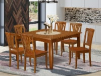 East West Furniture Parfait 7-piece Dining Set with Wood Seat in Saddle Brown - 1