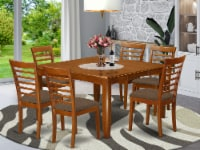 East West Furniture Parfait 7-piece Dining Set with Fabric Seat in Saddle Brown - 1
