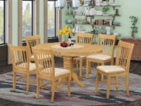 AVNO7-OAK-C 7 Pc Table and chair set - Dinette Table and 6 Dining Chairs - 1