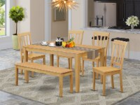 CAAN6-OAK-W 6 PC Table & chair set - Kitchen dinette Table & 4 Chairs with bench - 1