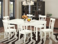 DOLG7-LWH-W 3 PcTable and chair set with a Table and 6 Chairs in Linen White - 1