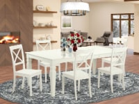 LGBO7-LWH-W 7 PC tables & chair set with a Table & 6 Chairs in Linen White - 1
