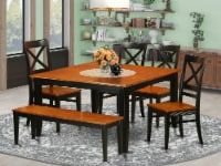 East West Furniture Parfait 6-piece Wood Dinette Set with Bench in Black/Cherry - 1