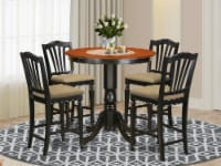JACH5-BLK-C 5 Pc Dining counter height set - Dinette Table & 4 high Chairs. - 1