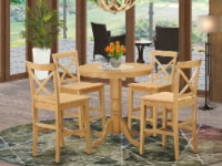 JAPB5-OAK-W 5 Pc counter height Dining room set - high top Table and 4 Chairs. - 1