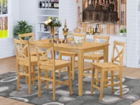 East West Furniture Capri 7-piece Wood Counter Height Dining Table Set in Oak - 1