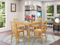 CFQU5-OAK-W 5 Pc counter height pub set - Dining Table and 4 bar stools. - 1