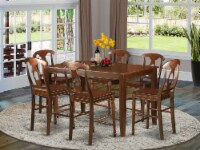DUKE7H-MAH-W 7 PC counter height pub set - high top Table and 6 dinette Chairs. - 1