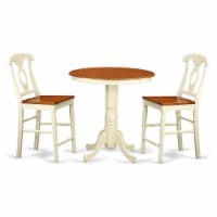 East West Furniture Eden 3-piece Wood Dining Table Set in Buttermilk and Cherry - 1