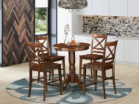 EDQU5-MAH-W 5 Pc counter height Dining set-pub Table and 4 Dining Chairs. - 1