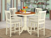 EDVN5-WHI-C 5 PC pub Table set - dinette Table and 4 bar stools with backs. - 1