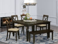 East West Furniture Parfait 6-piece Dining Table Set with Bench in Cappuccino - 1