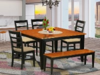 East West Furniture Parfait 6-piece Traditional Wood Dining Set in Black - 1