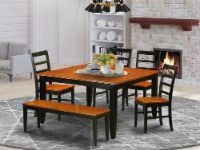 East West Furniture Parfait 6-piece Wood Dining Table Set in Black - 1