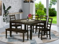 East West Furniture Parfait 6-piece Wood Dining Table Set in Cappuccino - 1