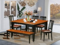 PFAV6-BCH-LC 6-PC Dining set with bench-Kitchen Tables and 4 Chairs Plus bench - 1