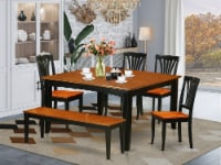 PFAV6-BCH-W 6 PC Dining set with bench-Kitchen Tables and 4 Chairs Plus bench - 1