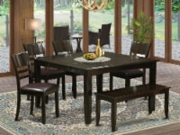 East West Furniture Parfait 6-piece Dinette Set with Bench in Cappuccino - 1