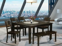 East West Furniture Parfait 6-piece Wood Kitchen Set in Cappuccino - 1