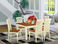 East West Furniture Weston 7-piece Wood Dining Table and Chair Set in Cherry - 1