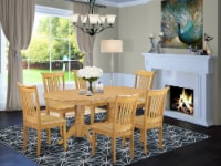 7-Piece Vancouver Table with one 17  Leaf & Six Wood Dinette chairs in Oak. - 1