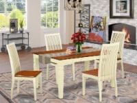 East West Furniture Weston 5-piece Wood Dinette Set in Buttermilk/Cherry - 1
