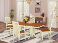 NAIP5-WHI-W 5 PC dinette set for 4-Dinette table and 4 dinette chairs - 1