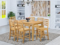 CACF7H-OAK-W 7 Pc counter height set - high Table and 6 dinette Chairs. - 1